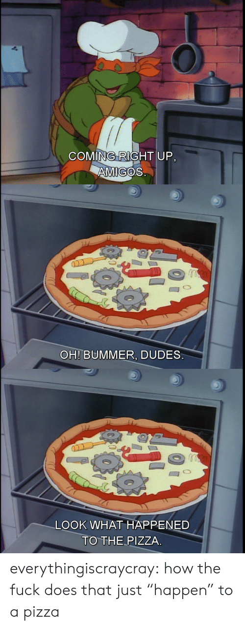 """Pizza, Tumblr, and Blog: COMING RIGHT UP.  AMIGOS   OH! BUMMER, DUDES   LOOK WHAT HAPPENED  TO THE PIZZA everythingiscraycray:  how the fuck does that just """"happen"""" to a pizza"""