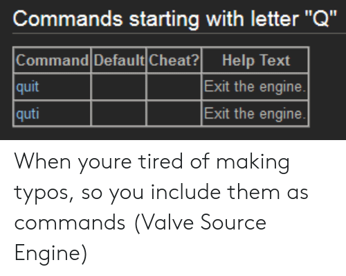 """Help, Text, and Valve: Commands starting with letter""""Q""""  Command Default Cheat? Help Text  quit  quti  Exit the engine  Exit the engine When youre tired of making typos, so you include them as commands (Valve Source Engine)"""