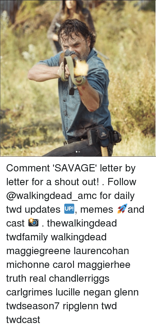 Carole: Comment 'SAVAGE' letter by letter for a shout out! . Follow @walkingdead_amc for daily twd updates 🆙, memes 🚀and cast 📸 . thewalkingdead twdfamily walkingdead maggiegreene laurencohan michonne carol maggierhee truth real chandlerriggs carlgrimes lucille negan glenn twdseason7 ripglenn twd twdcast