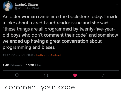 code: comment your code!
