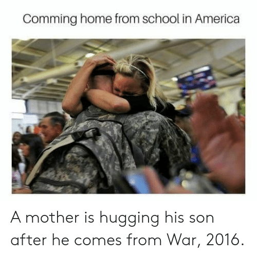 comming: Comming home from school in America A mother is hugging his son after he comes from War, 2016.