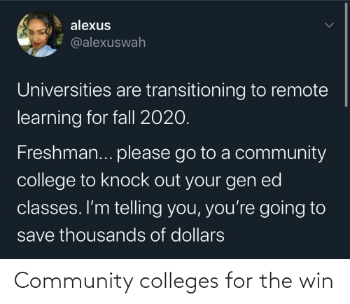 win: Community colleges for the win