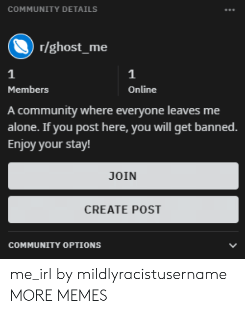 Being Alone, Community, and Dank: COMMUNITY DETAILS  r/ghost_me  1  Members  Online  A community where everyone leaves me  alone. If you post here, you will get banned.  Enjoy your stay!  JOIN  CREATE POST  COMMUNITY OPTIONS me_irl by mildlyracistusername MORE MEMES