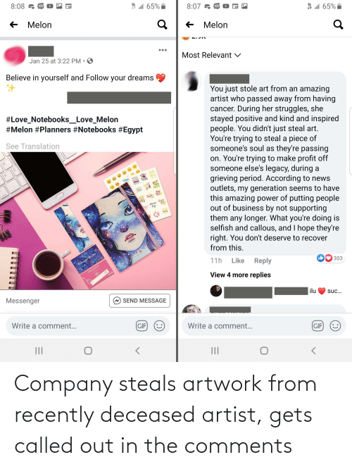 called: Company steals artwork from recently deceased artist, gets called out in the comments