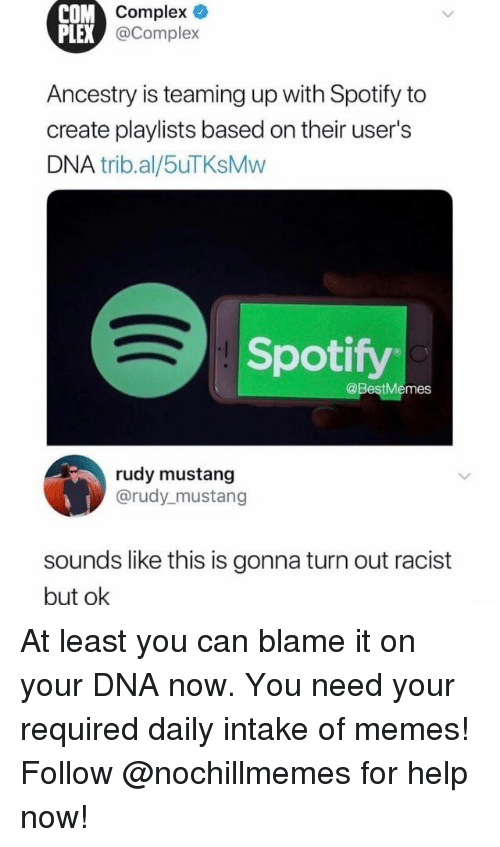 Complex, Memes, and Spotify: Complex  @Complex  COM  PLEX  Ancestry is teaming up with Spotify to  create playlists based on their user's  DNA trib.al/5uTKsMvw  Spotify  @BestMemes  rudy mustang  @rudy_mustang  soundslike this is gonna turn out racist  but ok At least you can blame it on your DNA now.You need your required daily intake of memes! Follow @nochillmemes for help now!