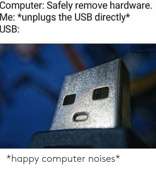 Computer, Happy, and Usb: Computer: Safely remove hardware.  Me: *unplugs the USB directly*  USB: *happy computer noises*