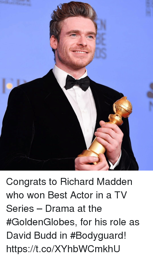 Richard Madden, Best, and Best Actor: Congrats to Richard Madden who won Best Actor in a TV Series – Drama at the #GoldenGlobes⁠, for his role as David Budd in #Bodyguard! https://t.co/XYhbWCmkhU