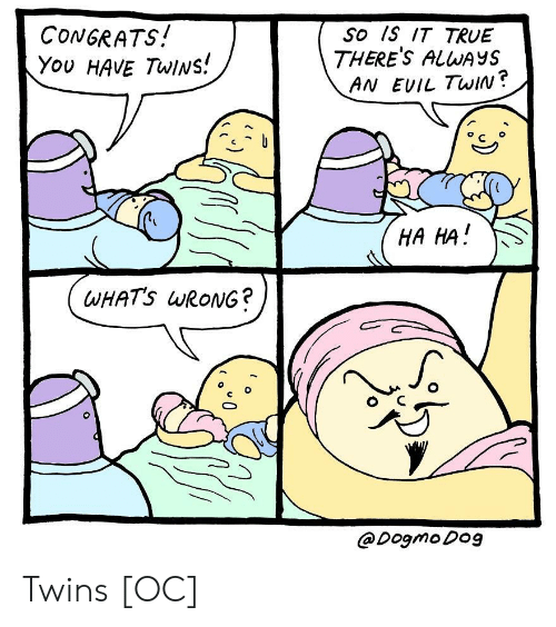True, Twins, and Evil: CONGRATS!  You HAvE TwINs!  So Is IT TRUE  THERE'S ALWAYS  AN EVIL TwiIN?  C o  HA HA  WHATS wRoNG?  @Dogmo Do9 Twins [OC]