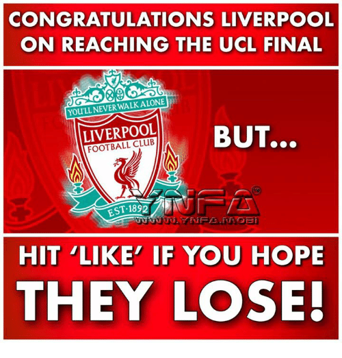 Club, Football, and Memes: CONGRATULATIONS LIVERPOOL  ON REACHING THE UCL FINAL  0  YOU'LL NEVERWALKALONE  LIVERPOOL  FOOTBALL CLUB  BUT..。  EST.1892  HIT LIKE' IF YOU HOPE  THEY LOSE!
