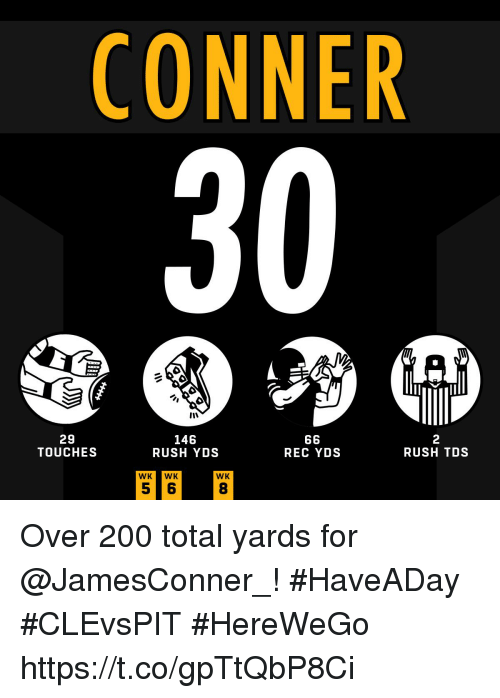 Bailey Jay, Memes, and Rush: CONNER  30  29  TOUCHES  146  RUSH YDS  2  RUSH TDS  REC YDS  WKWK  WK  8 Over 200 total yards for @JamesConner_! #HaveADay #CLEvsPIT  #HereWeGo https://t.co/gpTtQbP8Ci