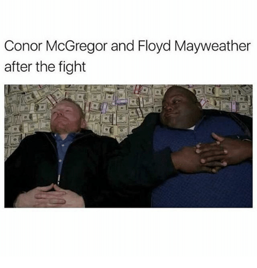 Conor McGregor, Floyd Mayweather, and Funny: Conor McGregor and Floyd Mayweather  after the fight