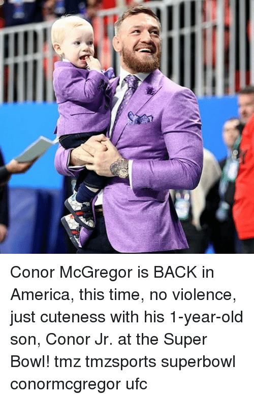 UFC: Conor McGregor is BACK in America, this time, no violence, just cuteness with his 1-year-old son, Conor Jr. at the Super Bowl! tmz tmzsports superbowl conormcgregor ufc