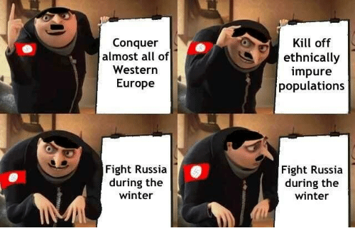 Winter, Europe, and Russia: Conquer  almost all of  Western  Kill off  ethnically  mpure  populations  Europe  Fight Russia  during the  winter  Fight Russia  during the  winter