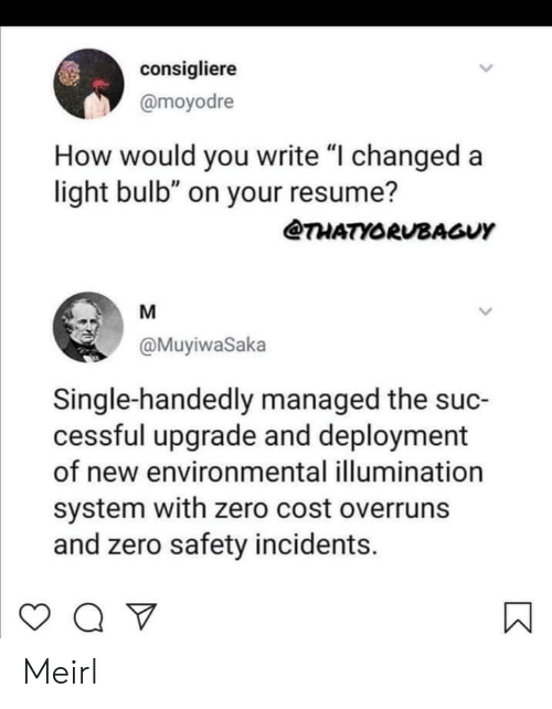 "Resume: consigliere  @moyodre  How would you write ""I changed a  light bulb"" on your resume?  THATYORUBAGUY  M  @MuyiwaSaka  Single-handedly managed the suc-  cessful upgrade and deployment  of new environmental illumination  system with zero cost overruns  and zero safety incidents.  > Meirl"