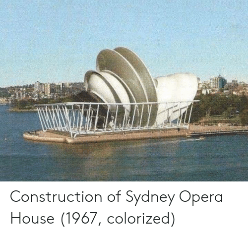 sydney: Construction of Sydney Opera House (1967, colorized)