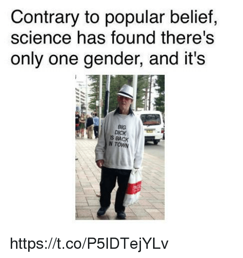 Science, Belief, and Only One: Contrary to popular belief,  science has found there's  only one gender, and it's  BIG  S BACK https://t.co/P5lDTejYLv