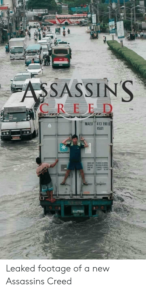 Leaked: COO  ASSASSINS  C REED  TM  MAEU 413 190 0  45U1  OVG 965  MAERSK  GROSS W  PAYLOAD  TABE WT  CUBE  715LIl32500N  L2  804DL 4100KG  28SFT 751M  TES-414 Leaked footage of a new Assassins Creed