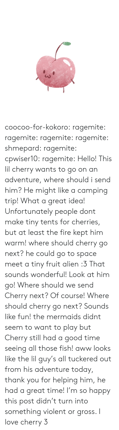 Had A Good Time: coocoo-for-kokoro:  ragemite:  ragemite:  ragemite:  ragemite:  shmepard:  ragemite:  cpwiser10:  ragemite:  Hello! This lil cherry wants to go on an adventure, where should i send him?  He might like a camping trip!  What a great idea!  Unfortunately people dont make tiny tents for cherries, but at least the fire kept him warm! where should cherry go next?  he could go to space  meet a tiny fruit alien :3  That sounds wonderful!  Look at him go! Where should we send Cherry next?   Of course!   Where should cherry go next?   Sounds like fun!  the mermaids didnt seem to want to play but Cherry still had a good time seeing all those fish!  aww looks like the lil guy's all tuckered out from his adventure today, thank you for helping him, he had a great time!      I'm so happy this post didn't turn into something violent or gross. I love cherry 3