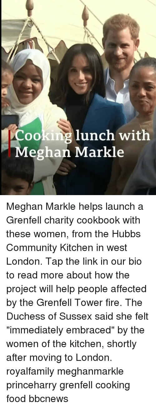 """Community, Fire, and Food: Cooking lunch with  Meghan Markle Meghan Markle helps launch a Grenfell charity cookbook with these women, from the Hubbs Community Kitchen in west London. Tap the link in our bio to read more about how the project will help people affected by the Grenfell Tower fire. The Duchess of Sussex said she felt """"immediately embraced"""" by the women of the kitchen, shortly after moving to London. royalfamily meghanmarkle princeharry grenfell cooking food bbcnews"""