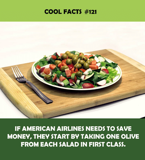 Save Money: COOL FACTS #121  IF AMERICAN AIRLINES NEEDS TO SAVE  MONEY, THEY START BY TAKING ONE OLIVE  FROM EACH SALAD IN FIRST CLASS.