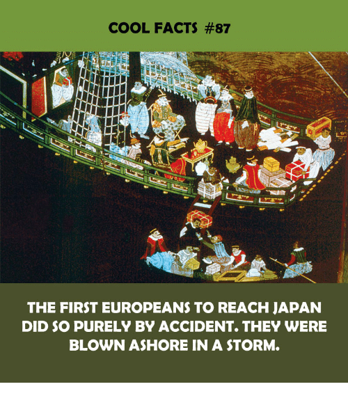 Facts, Cool, and Japan: COOL FACTS #87  THE FIRST EUROPEANS TO REACH JAPAN  DID SO PURELY BY ACCIDENT. THEY WERE  BLOWN ASHORE IN A STORM.