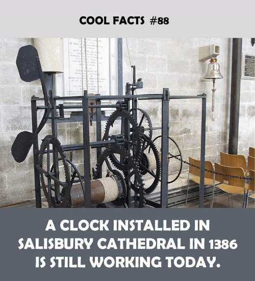 clock: COOL FACTS #88  A CLOCK INSTALLED IN  SALISBURY CATHEDRAL IN 1386  IS STILL WORKING TODAY.