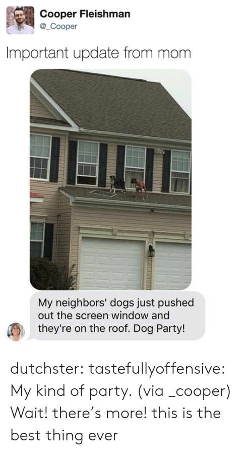 Dogs, Party, and Tumblr: Cooper Fleishman  @_Cooper  Important update from mom   My neighbors' dogs just pushed  out the screen window and  they're on the roof. Dog Party! dutchster: tastefullyoffensive: My kind of party. (via _cooper) Wait! there's more! this is the best thing ever