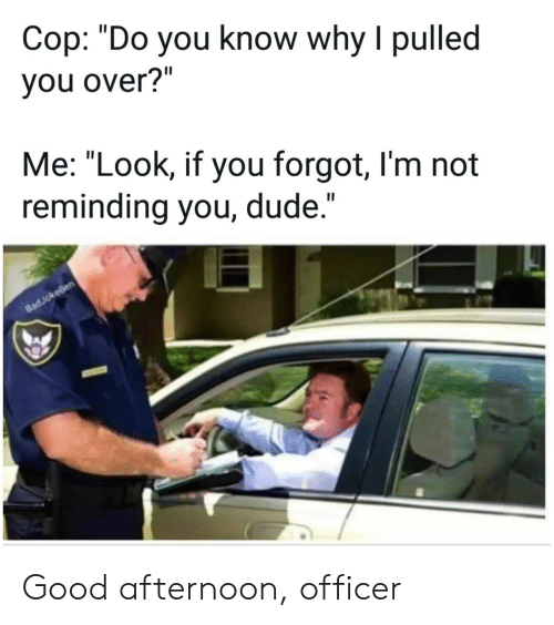 "Dude, Good, and Cop: Cop: ""Do you know why I pulled  you over?""  Me: ""Look, if you forgot, I'm not  reminding you, dude.""  II  8adJokeBen Good afternoon, officer"