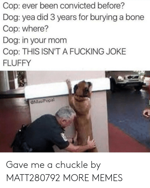 Dank, Fucking, and Memes: Cop: ever been convicted before?  Dog: yea did 3 years for burying a bone  Cop: where?  Dog: in your mom  Cop: THIS ISN'T A FUCKING JOKE  FLUFFY  @MasiPopal Gave me a chuckle by MATT280792 MORE MEMES
