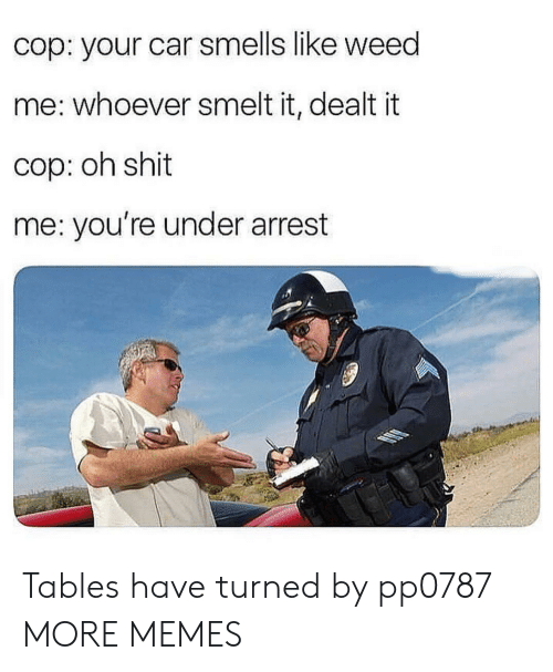 Dank, Memes, and Shit: cop: your car smells like weed  me: whoever smelt it, dealt it  cop: oh shit  me: you're under arrest Tables have turned by pp0787 MORE MEMES