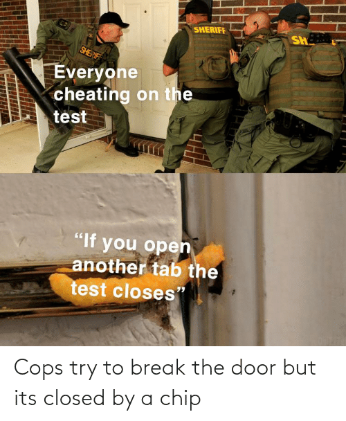 The Door: Cops try to break the door but its closed by a chip
