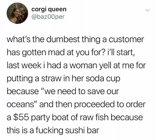 """soda: corgi queen  @baz00per  what's the dumbest thing a customer  has gotten mad at you for? i'll start,  last week i had a woman yell at me for  putting a straw in her soda cup  because """"we need to save our  oceans"""" and then proceeded to order  $55 party boat of raw fish because  this is a fucking sushi bar"""