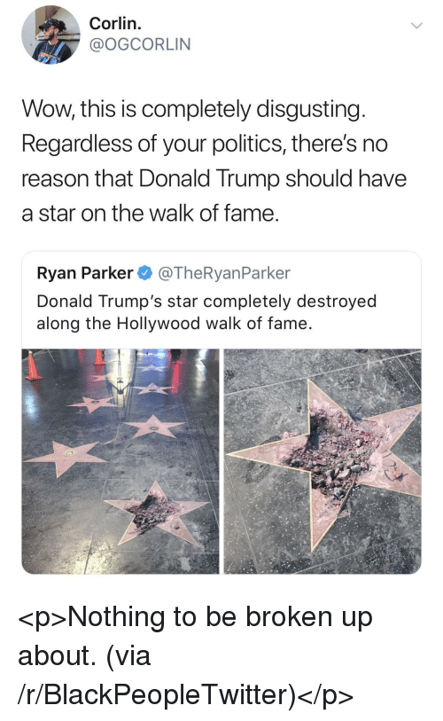 Donald Trumps: Corlin.  @OGCORLIN  Wow, this is completely disgusting  Regardless of your politics, there's no  reason that Donald Trump should have  a star on the walk of fame  Ryan Parker @TheRyanParker  Donald Trump's star completely destroyed  along the Hollywood walk of fame <p>Nothing to be broken up about. (via /r/BlackPeopleTwitter)</p>