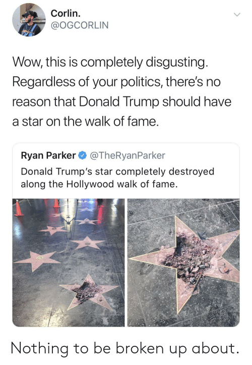 Donald Trumps: Corlin.  @OGCORLIN  Wow, this is completely disgusting  Regardless of your politics, there's no  reason that Donald Trump should have  a star on the walk of fame  Ryan Parker @TheRyanParker  Donald Trump's star completely destroyed  along the Hollywood walk of fame Nothing to be broken up about.