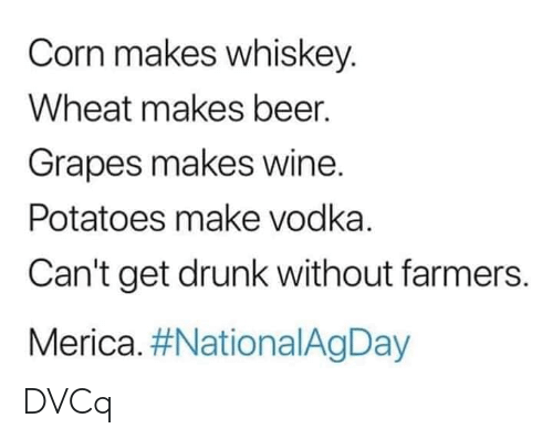 merica: Corn makes whiskey.  Wheat makes beer.  Grapes makes wine.  Potatoes make vodka.  Can't get drunk without farmers.  Merica. DVCq