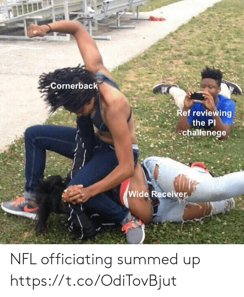 Football, Nfl, and Sports: Cornerback  Ref reviewing  the PI  chalenege  Wide Receiver NFL officiating summed up https://t.co/OdiTovBjut
