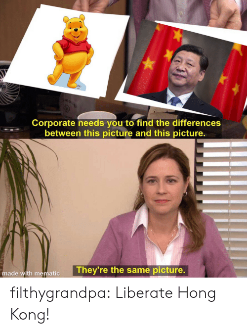 corporate: Corporate needs you to find the differences  between this picture and this picture.  They're the same picture.  made with mematic filthygrandpa:  Liberate Hong Kong!