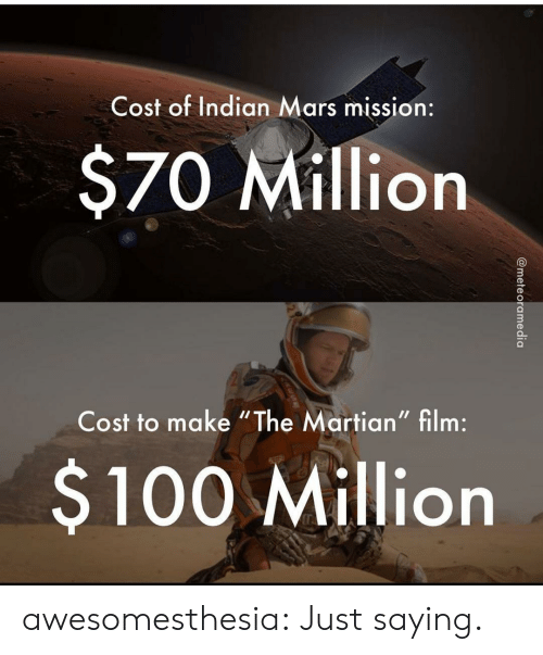 """The Martian, Tumblr, and Blog: Cost of Indian Mars mission:  $70 Million  Cost to make """"The Martian"""" film:  $100 Million  @meteoramedia awesomesthesia:  Just saying."""