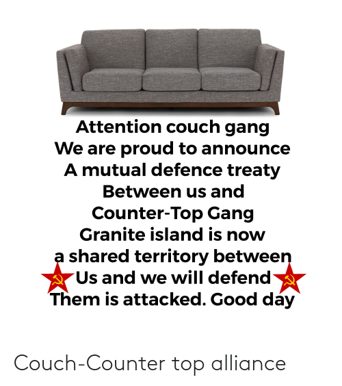 Couch: Couch-Counter top alliance