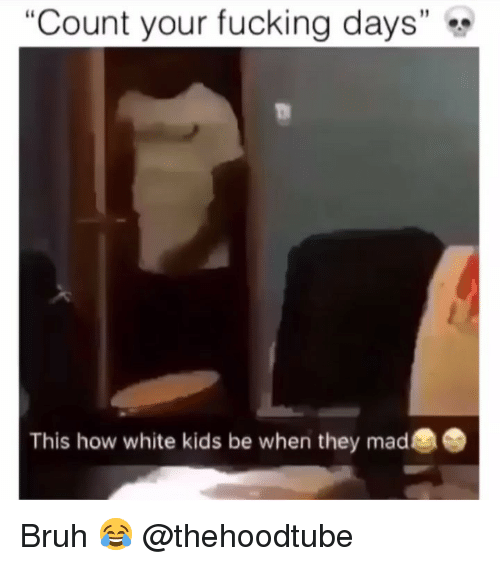 "Bruh, Fucking, and Memes: ""Count your fucking days""  This how white kids be when they mad Bruh 😂 @thehoodtube"