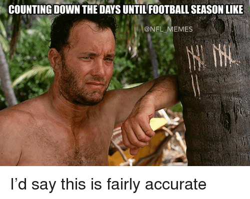Meme, Memes, and Nfl: COUNTING DOWN THE DAYS UNTILFOOTBALL SEASON LIKE  @NFL MEMES I'd say this is fairly accurate
