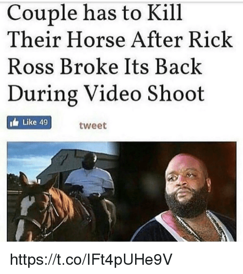 Rick Ross: Couple has to Kill  Their Horse After Rick  Ross Broke Its Back  During Video Shoot  Like 49  tweet https://t.co/IFt4pUHe9V