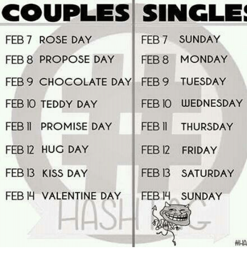 Couples Singles Feb 7 Sunday Feb 7 Rose Day Feb 8 Propose Day Feb 8