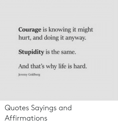 Life, Quotes, and Courage: Courage is knowing it might  hurt, and doing it anyway  Stupidity is the same.  And that's why life is hard.  Jereny Goldberg Quotes Sayings and Affirmations