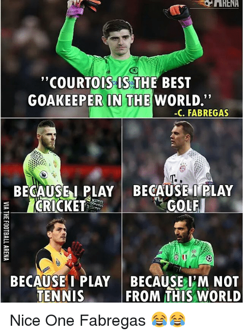 """tenny: """"COURTOIS IS THE BEST  GOAKEEPER IN THE  WORLD.""""  -C. FABREGAS  BECAUSE I PLAY BECAUSE I PLAY  GOLF  CRICKET  BECAUSE I PLAY BECAUSE I M NOT  TENNIS  FROM THIS WORLD Nice One Fabregas 😂😂"""