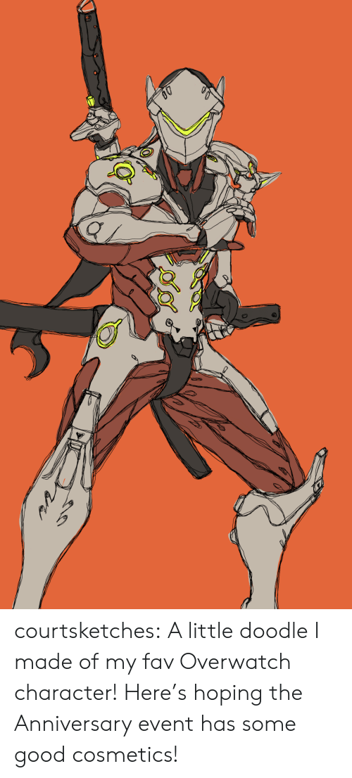 Tumblr, Blog, and Doodle: courtsketches:  A little doodle I made of my fav Overwatch character! Here's hoping the Anniversary event has some good cosmetics!