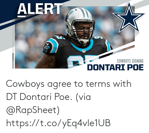 Dallas Cowboys: Cowboys agree to terms with DT Dontari Poe. (via @RapSheet) https://t.co/yEq4vle1UB