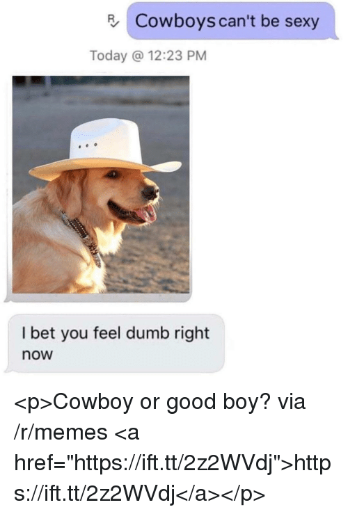"Dallas Cowboys, Dumb, and I Bet: Cowboys can't be sexy  Today @ 12:23 PM  I bet you feel dumb right  now <p>Cowboy or good boy? via /r/memes <a href=""https://ift.tt/2z2WVdj"">https://ift.tt/2z2WVdj</a></p>"