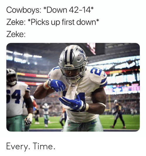 Dallas Cowboys, Nfl, and Time: Cowboys: *Down 42-14*  Zeke: *Picks up first down*  Zeke:  64 Every. Time.