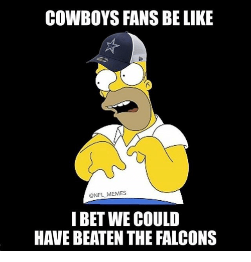 I Bet, Memes, and Falcons: COWBOYS FANS BE LIKE  @NFL MEMES  I BET WE COULD  HAVE BEATEN THE FALCONS